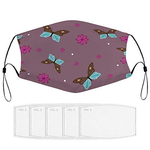 Stofmasker met filter (meerdere reservefilterelementen) patroon behang ontwerp motten en vlinders wikkelpapier visuele kunst color33 met 5 filter sport gezicht Cover Up