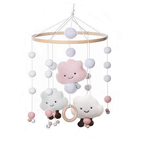 Mamimami Home 1pc Baby Windspiele Babybett Windspiele Wolken Spielzeug Holzring Beißring Mobile Baby Mädchen und Jungen mit Glocken Mobile Babybett Babymobile für Wickeltisch