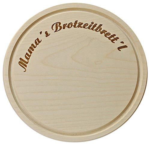 Kaltner Präsente Geschenke für die Mutter - Schneidbrett Schinkenteller Holz Anhorn Holzteller Brotzeitbrett Jausenbrett Mama´s Brotzeitbrettl (24 cm)