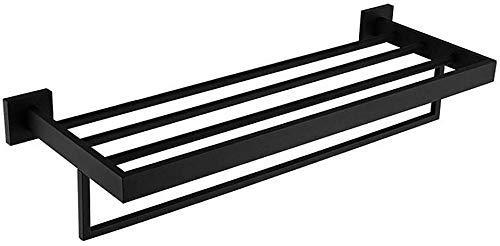 Baño montado en la pared Toalla de toalla de baño Cuarto de baño cuadrado Toalla de baño con barra de toalla de una sola toalla Montaje en pared Estante a prueba de herrumbre Acero inoxidable Black Ac