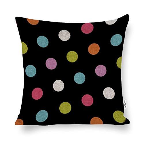 Promini Cool Polka Dots Cotton Linen Blend Throw Pillow Covers Case Cushion Pillowcase with Hidden Zipper Closure for Sofa Bench Bed Home Decor 20'x20'