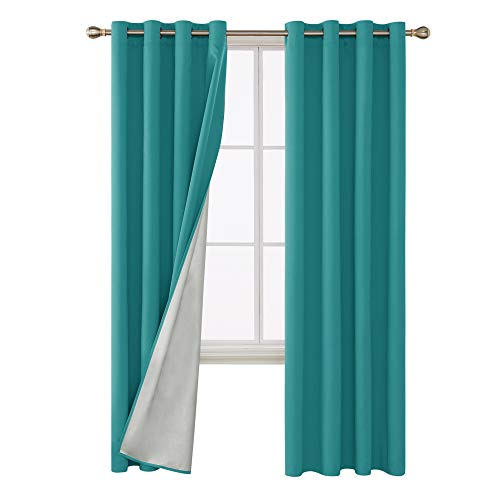 Deconovo Light Blocking Thermal Insulated Drapes Grommet Top Blackout Curtains with Silver Lining Back Fabric Draperies for Girls Room 52W x 95L Inch Teal 2 Panels