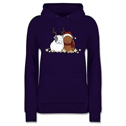 Weihnachten & Silvester - Weihnachtliche Meerschweinchen - L - Lila - Flauschige Pullover - JH001F - Damen Hoodie und Kapuzenpullover für Frauen