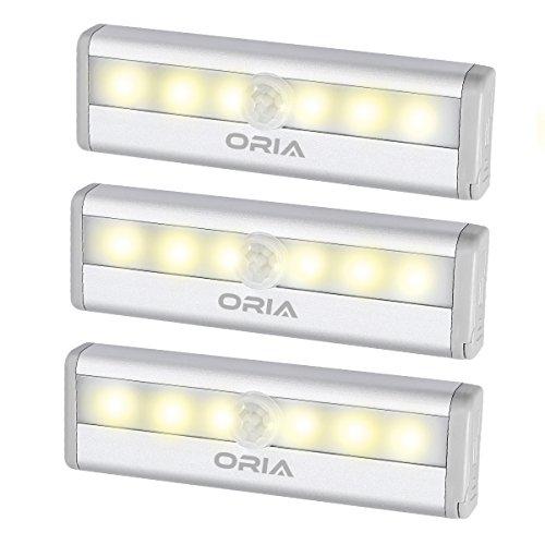 ORIA センサーライト 室内 人感と明暗センサー 電池式 小型 マグネット付き 自動点灯 消灯 懐中電灯 設置便利 軽量 玄関 階段 クローゼット 押入れ ロッカー 夜間ライト 地震 停電 緊急照明 6LED 3個セット 電球色