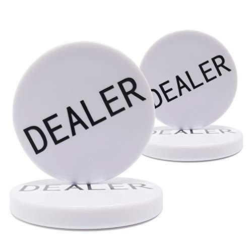 COSDDI 4 Stück Dealer Buttons Poker 5,1 cm Profi Casino Texas Holdem Poker Buttons (White)