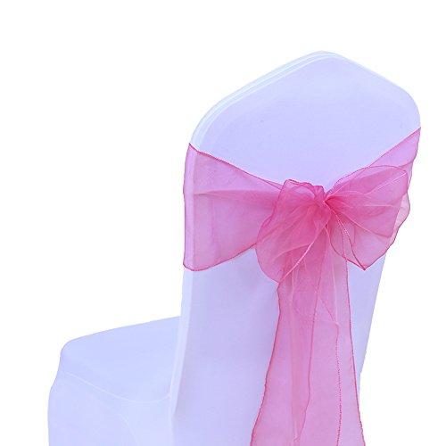 Sinssowl 100 Stück Organza-Bänder Stuhlhussen Schleifen Schleifen Hochzeit Dekoration Zeremonie Party Geburtstag 17 x 275 cm 22 Farben (ohne Stuhlhussen) Fuchsia