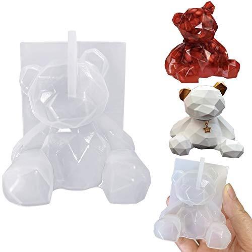 Molde de resina de oso 3D, molde de fundición de epoxi de cristal de silicona, molde de pastel, vela, jabón, fabricación de joyas, moldes para regalo hecho a mano, artesanía de resina DIY