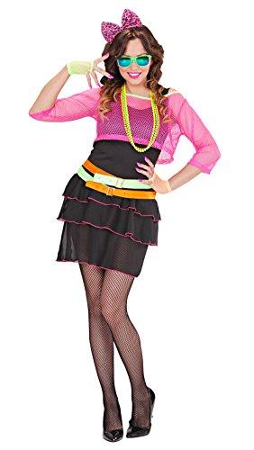 Widmann 98901 – Erwachsenenkostüm, 80er Jahre Groupie Girl, Kleid, Netztop, Gürtel und Haarreif mit Schleife,Popstar, Retro Style, verschiedene Größen, angenehmer Tragekomfort, Bad Taste, Karneval