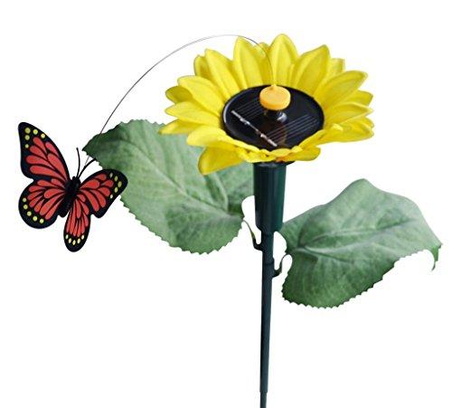 iLory Solaire et Alimenté Par Batterie Volante Wobble Fluttering Papillon / Hummingbird / Sunflower Pour Patio Jardin Jardin Stake Plantes Fleurs Mariage en Plein Air Decor Couleur Aléatoire (Butterfly w./ Sunflower)