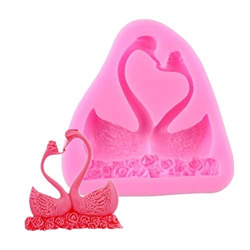 AAKK Zwei Stücke Küssen Schwan Form Silikon Kuchenform, Backgeschirr 3D-Form Für Praline Jello Fondant Kuchen Dekorationswerkzeuge