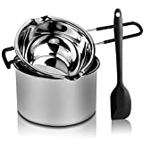 2 Pack Double Boiler Pot Set Stainless Steel Melting Pot with Silicone Spatula for Melting Chocolate, Soap, Wax, Candle Making (600ml and 1600ml)