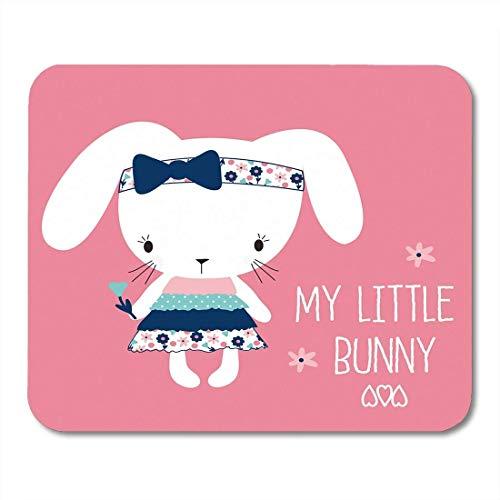 Yanteng Tappetini per Il Mouse Carino My Little Bunny Girl Buona Pasqua Baby Greeting Coniglio Mouse Adorabile per Notebook