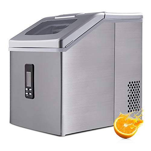 Countertop Ice Maker Stainless Steel Ice Making Machine 48LBS/24H Ice Maker Machine for Crystal Ice Cubes Nugget