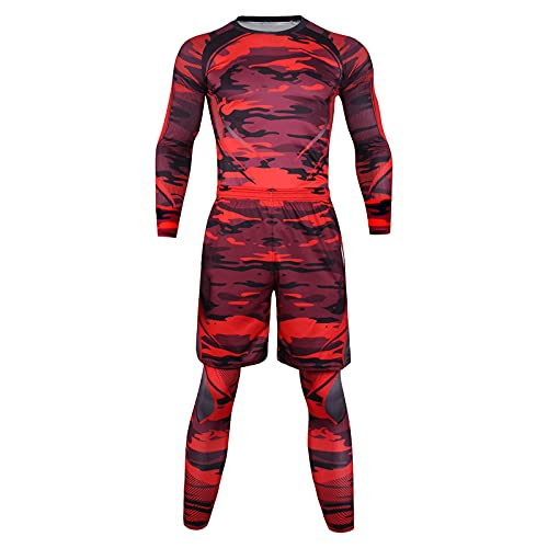 Xjp Herren Activewear Sets Elastische Fitness Langarm Schnelltrocknende Oberteile Lange Hosen Sport Enger Anzug Sportlich Trainingsset(rot,L)
