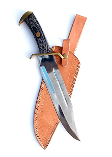 17 inch Fixed Blade Bowie Knife | Hunting Knife, Leather Handle | Leather Sheath | Designed for...