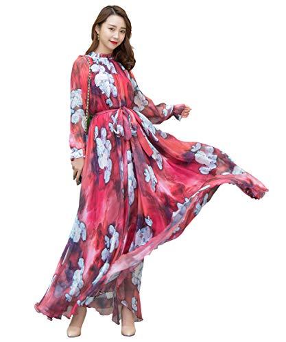Medeshe Women's Long Sleeve Floral Holiday Beach Bridesmaid Maxi Dress Sundress (Burgundy Pansy, M/L)
