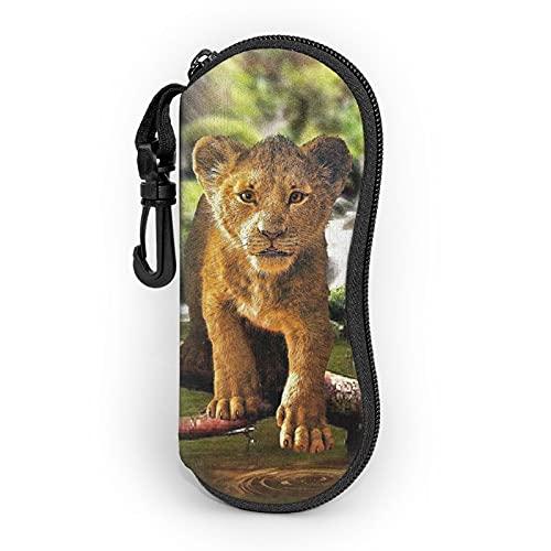 Yuanshan Cute Brave Lion Funda para gafas de sol Funda de neopreno ultraligera con cremallera, bolsa protectora suave para gafas con mosquetón para mujeres y hombres