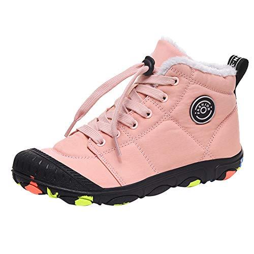 JACKSHIBO Kinder Schneestiefel Winterstiefel Jungen Mädchen Winterschuhe Warmfutter Schneeschuhe Winter Boots Outdoor Wasserdicht Stiefel (Pink,37EU)