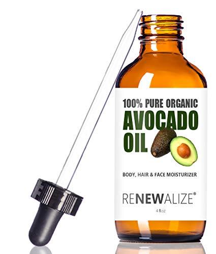 USDA CERTIFIED ORGANIC AVOCADO OIL - Skin Moisturizer Cold Pressed and Unrefined in 4 oz Dark Glass...