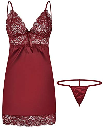 CMTOP Nuisette Femme Satin Grande Taille Robe Vintage Chic Pyjama Satin Lingerie Confortable Col en V Chemise De Nuit avec G-String (M, Vin Rouge)