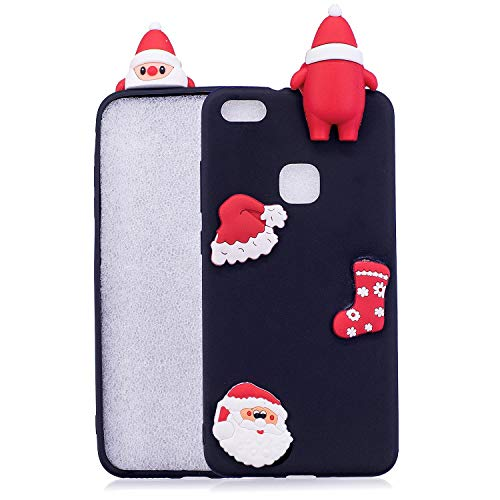 LAXIN compatible with Huawei P10 Lite Case Silicone 3D Cute Pattern Girly Matte Funny Animal Design Cover Protective Rubber Ultra Thin Bumper for Girls Boys Men Women,Christmas Hat