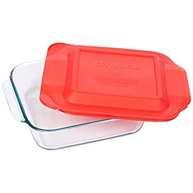 Pyrex 8-inch Square Glass Baking Dish with Red Lid