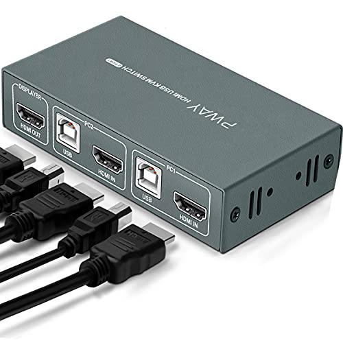 KVM Switch HDMI 2 Port,USB 2.0,4K@30 Hz,KVM Switch 2 PC 1 Monitor, KVM Switch 2 Monitore,Ultra HD,Mit 2 HDMI Kabel und 2 USB Kabel,Button Switch