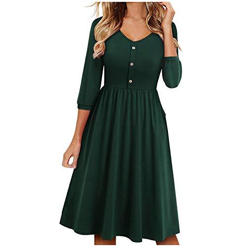 MMOOVV Sommerkleid Damen Freizeit Taschenkleid V-Ausschnitt A-Linie Kleider Elegant Knielang Midikleider Swing Kleid