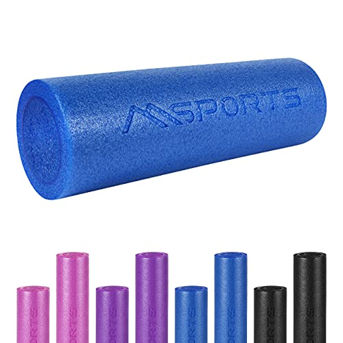 MSPORTS Yoga Rolle Premium | Pilates Rolle - 45 x 15 cm oder 90 x 15 cm - Faszienrolle (Blau, 90 x 15 cm)