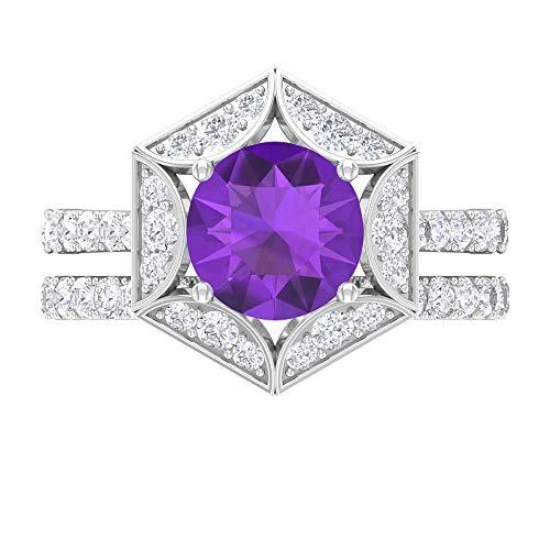 Anillo solitario de amatista de 8 mm, D-VSSI Moissanita, anillo de compromiso hexagonal, anillo de boda Art Deco, anillo solitario con piedras laterales, oro de 10 quilates blanco