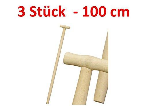 Stanmot Lot de 3 manches de fourche, bêche, pelle, manche en bois en T, 100 cm Ø 36, hêtre