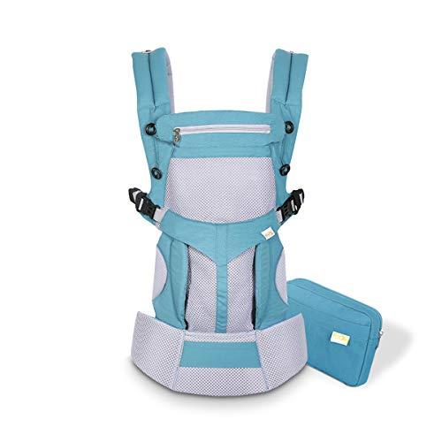 SONARIN Porte-bébé Respirant Premium,avec sac de rangement,Capot Écran solaire, Ergonomique,pour Nouveau-né à tout-petit (0-48 mois),charge maximale 20 kg,Support de tête(Bleu)