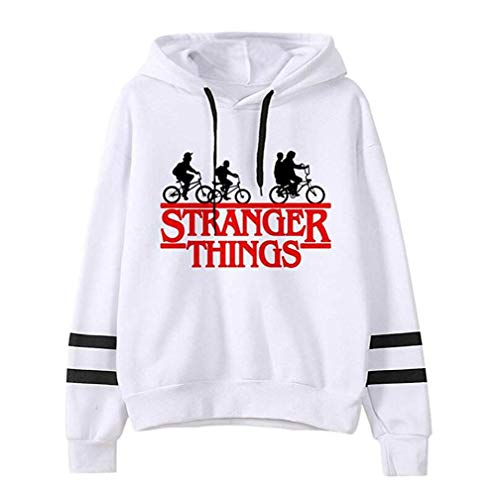 Sudadera Stranger Things Mujer Manga Larga Sudadera con Capucha Suéter Top Deportivo Casual Impresión de Cartas Hoodies Unisex Streetwear