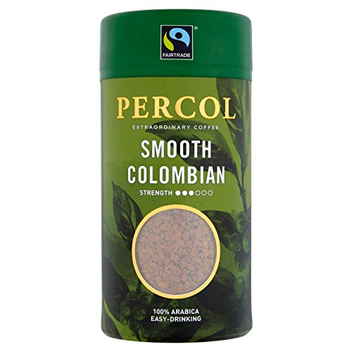 PERCOL Smooth Colombian Instant Coffee Easy Drinking Flavour 100% Arabica Beans Freeze-Dried - Light Strength 100g