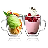 BOQO Glass Cups,Double Walled Insulated Drinking Glasses with Handle,Set Of 2 Mugs(400ml Water Glasses)