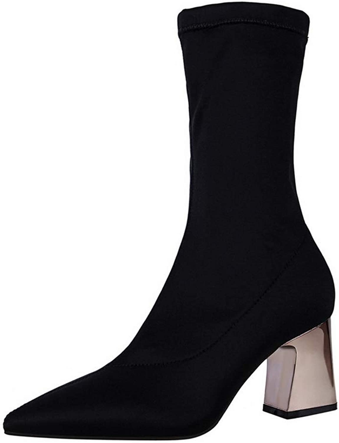 F1rst Rate Women's Chelsea Boot - Casual High Heel Pointed Toe Slip On Ankle Bootie