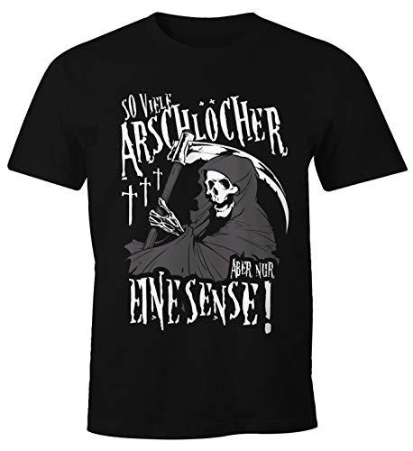 MoonWorks So viele Arschlöcher Aber nur eine Sense Herren T-Shirt mit Spruch schwarz XL