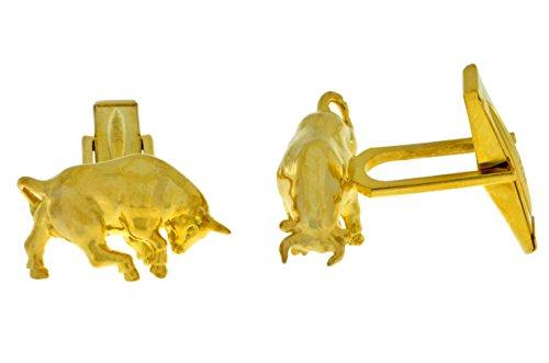 Elizabeth Jewelry Bull Boutons de manchette plaqué or jaune 14 carats