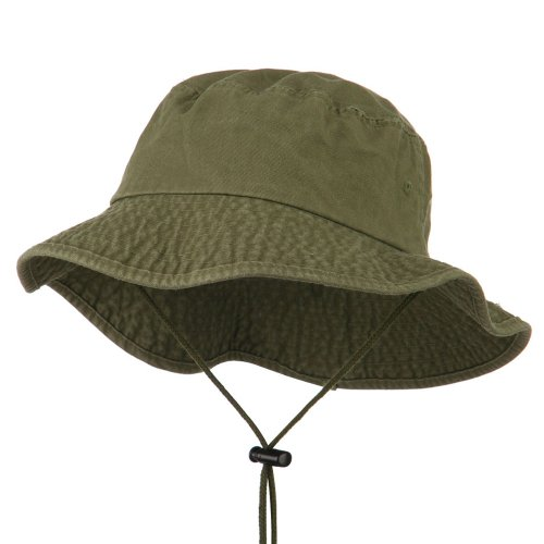 Big Size Washed Bucket Hat with Chin Cord - Olive 2XL-3XL