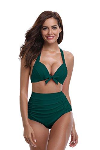 SHEKINI Mujer Triángulo Push up Bikini Set Cintura Alta Braguitas Arruga Trajes de Baña Bañador De Dos Piezas Conjuntos (M, Verde Oscuro)