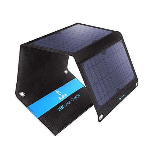 Solar Panel Charger, BigBlue 21W Solar Phone Charger with 2 USB, Foldable & Waterproof, Portable Camping Solar Charger Compatible with iPhone Xs XS Max X 8 7 Plus, iPad, Samsung Galaxy S9, LG etc.