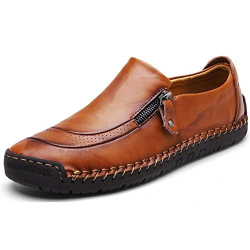 Mocasín de Cuero para Hombre Zapatos cómodos y Ligeros de Punta Redonda Pisos Mocasines Antideslizantes Zapatos de Trabajo de Negocios más amplios Tamaño Grande (41.5 EU, Amarillo 1)