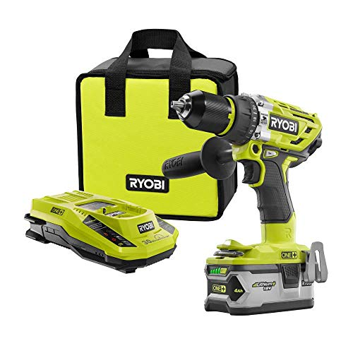Ryobi P1813 One+ 18V Lithium Ion 750 Inch Pound Cordless Hammer Drill Power Tool Kit Renewed