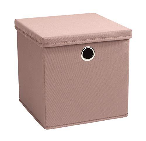 Echtwerk 2 er Set Faltbox Rack Aufbewahrungsbox mit Deckel und Metallöse-Creme, PSD 600 Oxford, Taupe/braun, 30 x 30 30 cm
