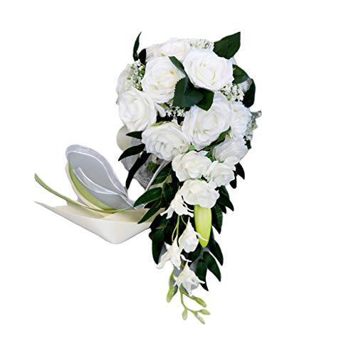 ruiruiNIE Brautstrauß 1 Bund Romantische Hochzeit Brautstrauß Wasserfall Künstliche Rosenblüten mit Schleife Weiß