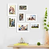 Art Street Synthetic and Engineered Wood Wall Photo Frame with Free Hanging Accessories for Home Decor (White, 4x6, 5x7, 6x8 Inches) - Set of 7