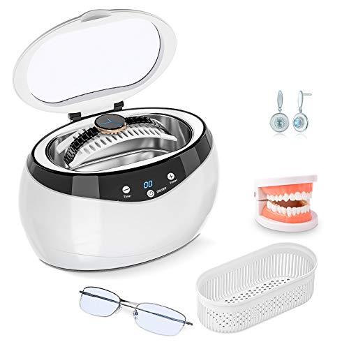 Signstek Ultrasonic Cleaner 600ML Professional Ultrasonic Cleaner Ultrasonic Teeth Cleaner Ultrasound Cleaner Occhiali, Orologi, Orecchini, Protesi, Monete, Gioielli 40000 HZ
