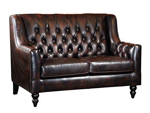 Woodkings® Chesterfield Stafford Sofa 2-Sitzer Echtleder Couch Bürosofa Polstermöbel 2er antik Unikat Herrenzimmer englisches Ledersofa Stilsofa Clubsofa (antik braun)