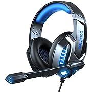Gaming Headset für PS4 PS5 Xbox one PC und Switch, Gamer Kopfhörer mit Noise Cancelling Mikrofon, Headset Gaming mit 50mm Treiber, 7.1 Surround Sound Stereo, LED Licht, Memory-Schaumstoff Ohrpolster