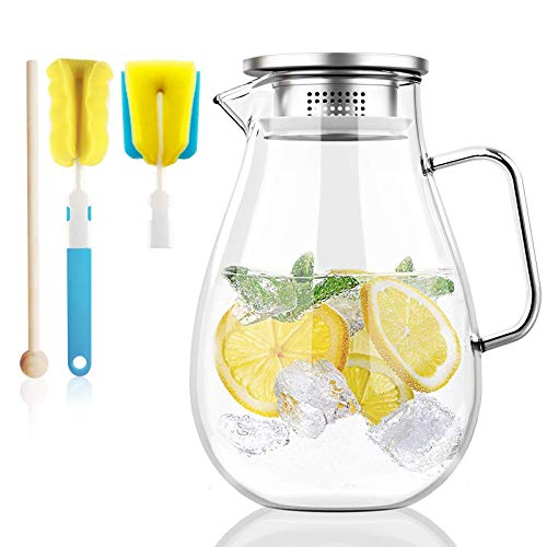 Honneeo Glass Pitcher 2.0 Liter Fridge Jug 68 Ounces Carafes 304 Stanless Still Lid with Filter Hot Cold Iced Water Wine Coffee Milk Tea Juice Beverage Bottle with Stir Stick and Brush (2000ml)